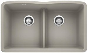 Blanco Diamond Equal Double Bowl With Low-divide - Concrete Gray Product Image