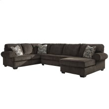 Signature Design by Ashley Jinllingsly 3-Piece Left Side Facing Sofa Sectional in Chocolate Corduroy