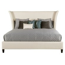 Queen-Sized Sienna Flare Upholstered Bed in Espresso