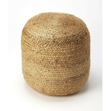 Put your feet up and relax. This round beige natural fiber pouf has an interesting braided Jute appearence . This woven beanbag blends its complementary shades to form a masterful medley of color and consistency. Set a rustic wooden tray on top of this p