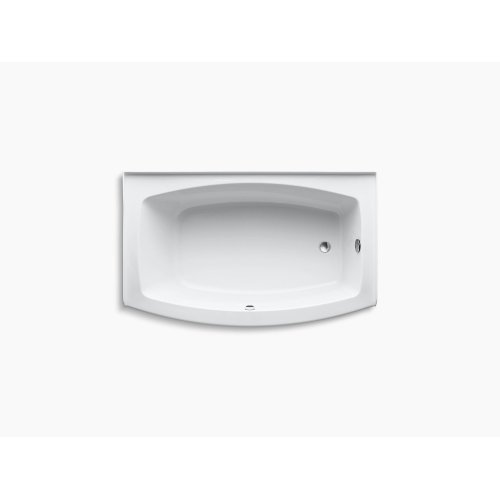 """White 60"""" X 32-38"""" Curved Alcove Bath With Bask Heated Surface and Right-hand Drain"""