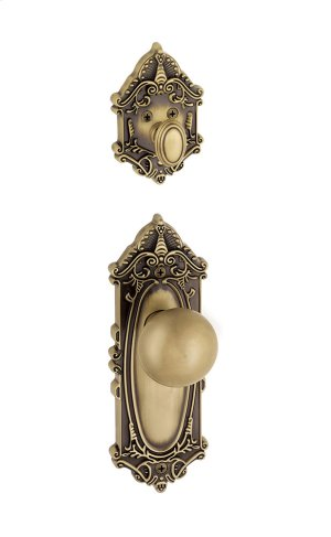 Grandeur - Single Cylinder Combo Pack Keyed Differently - Grande Victorian Plate with Fifth Avenue Knob and Matching Deadbolt in Vintage Brass Product Image