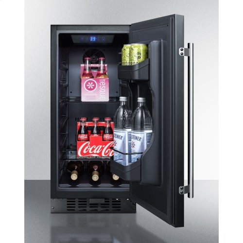 """15"""" Wide ADA Compliant All-refrigerator for Built-in or Freestanding Use, With Digital Controls, LED Light, Lock, and Black Exterior Finish"""
