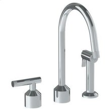 Deck Mounted 3 Hole Kitchen Set With Gooseneck Spout- Includes Side Spray
