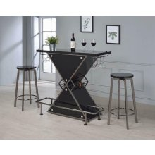 Contemporary Black Stacked Triangle Bar Unit