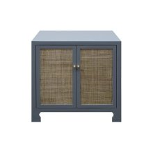 Two Door Cane Cabinet With Brass Hardware In Matte Grey Lacquer