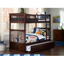 Columbia Bunk Bed Twin over Twin with Raised Panel Trundle Bed in Walnut