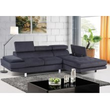 Madison Grey Polyester Fabric LAF Loveseat