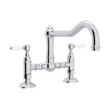 Polished Chrome Italian Kitchen Acqui Deck Mount Column Spout Bridge Kitchen Faucet with Porcelain Lever