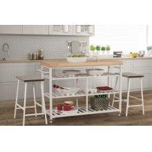 Kennon 3 Piece Kitchen Cart Set - Natural Wood Top