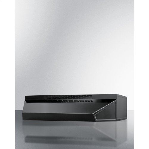 18 Inch Wide ADA Compliant Ductless Range Hood In Black Finish With Remote Wall Switch