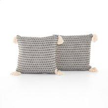 """Briella Pillow, Set of 2-20""""-grey/white"""