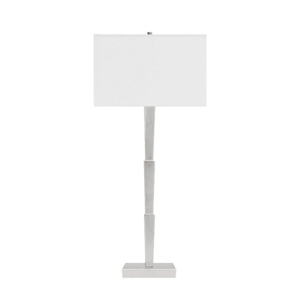 Three Tier Table Lamp In Silver Leaf With Square White Linen Shade -ul Approved for One 60 Watt Bulb