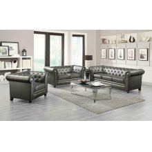 Roy Traditional Gunmetal Grey Three-piece Living Room Set