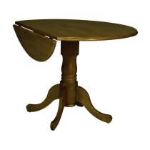 Round Dropleaf Pedestal Table in Oak Product Image