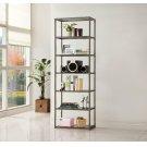 Contemporary Black Nickel Six-tier Bookcase Product Image