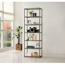 Contemporary Black Nickel Six-tier Bookcase