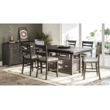 Altamonte Rect. Counter Height Dining Table With Four Ladderback Stools - Brushed Grey
