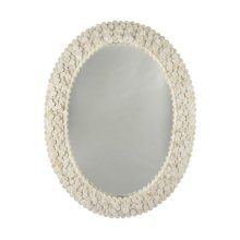Oval Mirror With Frame Formed From Layered Circular Bone Pieces.