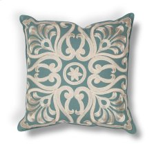 "L189 Teal Damask Pillow 18"" X 18"""