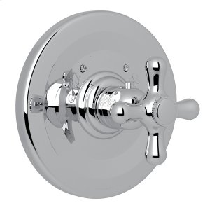 Polished Chrome Verona Thermostatic Trim Plate Without Volume Control with Verona Series Only Cross Handle Product Image