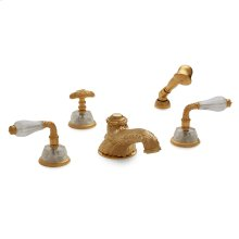 Antique Gold Semiprecious Laurel Lever Deck Mount Tub Set with Classical Hand Shower