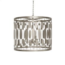 Silver Leaf Wire Drum Pendant With 3-light Cluster for 40w Bulbs. Comes With 3' Silver Chain and Canopy.