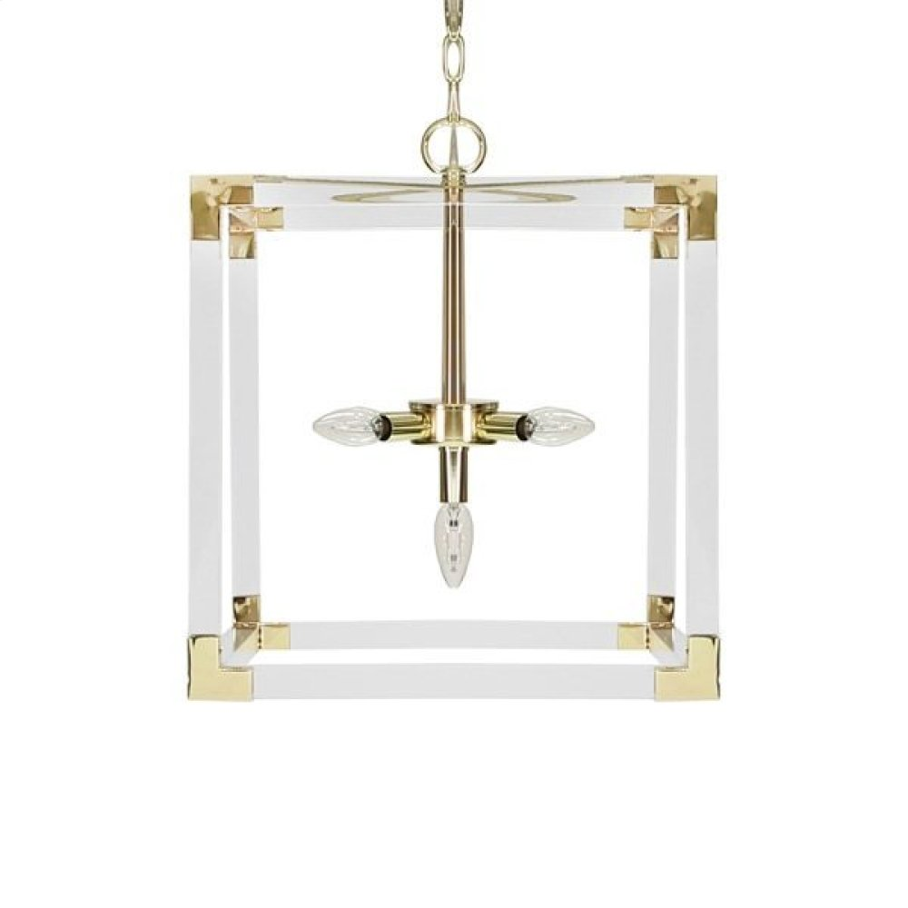 Square Acrylic Pendant With Brass Hardware Ul Approved for Five 40 Watt Candelabra Bulbs