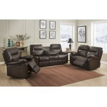 Kenzie Brown Reclining Sofa with Drop-Down Table