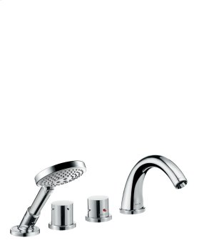 Chrome 4-hole tile mounted thermostatic bath mixer with zero handles Product Image