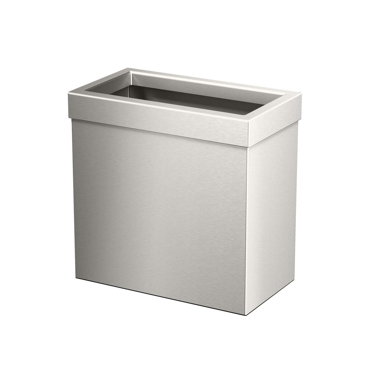 Rectangle Modern Waste Basket in Satin Nickel