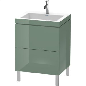 Furniture Washbasin C-bonded With Vanity Floorstanding, Jade High Gloss Lacquer
