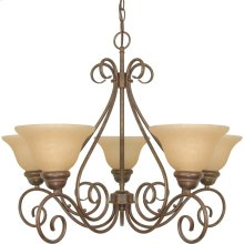 5-Light Chandelier in Sonoma Bronze with Champagne Glass