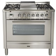 """36"""" - 5 Burner, Single Oven w/ Griddle in Stainless Steel"""