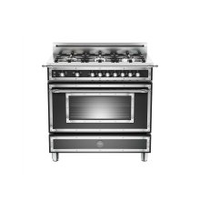 36 inch All Gas Range, 6 Brass Burner Matt Black