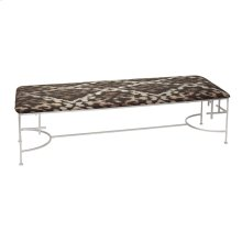 "60""l Hammered Silver Leaf Bench With P05/ikat Upholstery"
