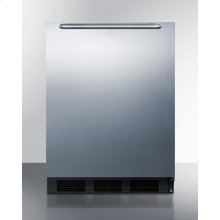 24 Inch Wide ADA Compliant Built-in Undercounter All-refrigerator for Residential Use, Auto Defrost With Stainless Steel Wrapped Door, Horizontally Mounted Towel Bar Handle, and Black Cabinet