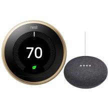 Thermostat Brass With Google Mini Black