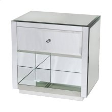 Beveled Mirror One Drawer Side Table With White Base. Drawer On Glides.