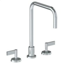Deck Mounted 3 Hole Square Top Kitchen Faucet