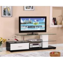 IVANA WH/BK TV STAND W/GL TOP