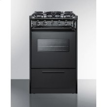 """20"""" Wide Slide-in Gas Range In Black With Sealed Burners, Oven Window, Light, and Electronic Ignition; Replaces Tnm114rw/ttm1107cswrt"""
