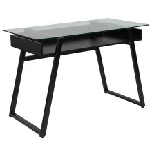 Glass Computer Desk with Shelf and Black Metal Legs