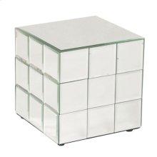 Short Mirrored Puzzle Cube Pedestal