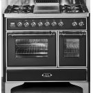 "Gloss Black with Chrome Trim 40"" - 6 Burner Dual Fuel Range Product Image"