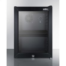 Compact Commercial Beverage Center With Glass Door, Lock, and Black Cabinet