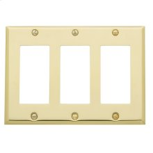 Polished Brass Beveled Edge Triple GFCI