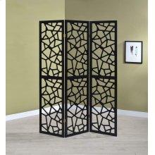 Transitional Black Three-panel Screen
