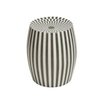 Cylinder Stool In Grey and Off White Resin