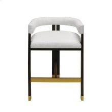 Modern Wooden Accent Counter Stool With White Linen Upholstery